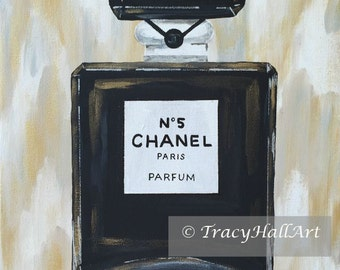 "Chanel Art Perfume Bottle Painting Metallic Gold Black and White Chevron Ikat Art Canvas 11"" x 14"""