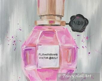 "FlowerBomb Perfume Art Painting Viktor & Rolf Fashion Art Female Christmas Gift Original Art Canvas 11"" x 14"""