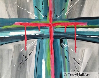Cross Painting Christian Art Painting Gray Aqua Teal Coral Red Black White Canvas 16 x 20