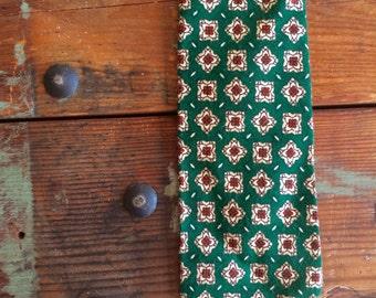 Green Vtg diamond Flower Bright Green Vintage Tie Interwoven Vintage Menswear Accessories