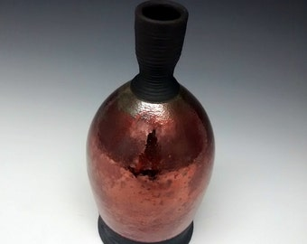 Raku Pottery - Handmade Vase - Ceramic Bottle
