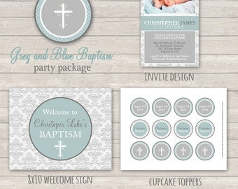 Blue and Grey Baptism Party Package - Boy Baptism - Printable Baptism Decor - Blue Baptism - Printable Christening - Blue Christening - DIY