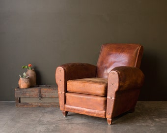 Vintage Furniture / 1920's / Original French Leather Club Chair / Vintage Home Decor