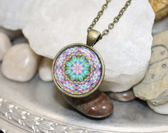 Mandala Flower Color Healing Reiki Attuned Pendant