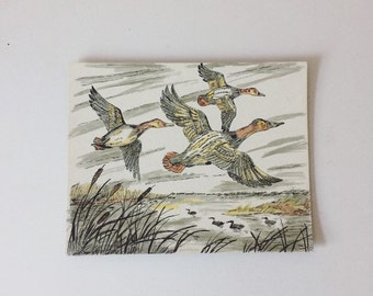 Vintage Ducks in Flight Print-B