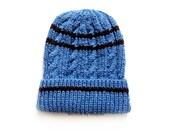 Mens Blue and Brown Knit Beanie, Mens Beanie, Slouchy Beanie Hat