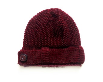 Bordeaux Beanie, Winter Hat, Knit Beanie with Button