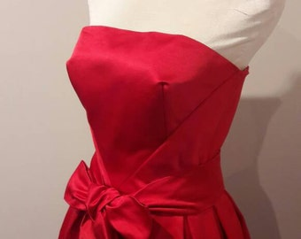 She Turned Heads-Vintage Inspired-1950s-Red Silk Satin-Gown-Wedding-New Zealand