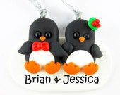 Personalize Penguin Couple Christmas Ornament Polymer Clay