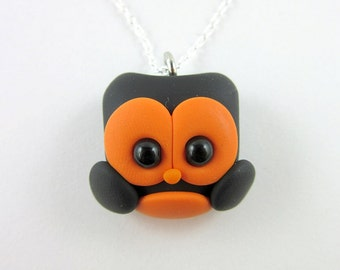 Halloween Owl Charm Necklace Polymer Clay