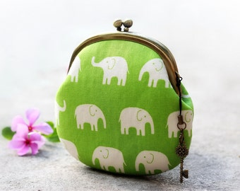 Elephant coin purse, Kiss lock purse Japanese fabric
