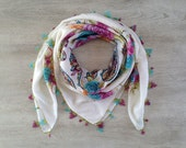 Yemeni - Turkish Scarf - Turkish Needle Lace - Yazma - Square - Floral Print Scarf - Cotton - Oya - Head Scarf - White, Turquoise, Purple