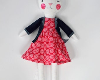 cat rag doll: Esmie, 20 inches, swing legs, tail, rosey rag doll, modern, free personalization