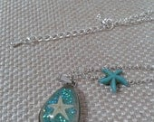Nautical Beach Starfish in Resin Pendant with Small Turqouise Starfish Bead and  Small Silver Chain Link Adjustable Necklace