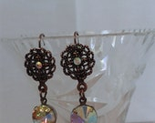 Historical or  Renaissance Style Arora Borealis Rhinestone Dangle Earrings with Antique Copper Lever Back Jewelry