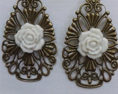 Art Nouveau Antique Floral Filigree Madallion with Cream Acrylic Flower Attached Dangle Earrings with Antique Brass Jewelry