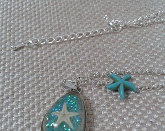 Nautical, Beach, Wedding, Starfish in Resin Pendant with Small Turquoise Starfish Bead and  Small Silver Chain Link Adjustable Necklace