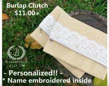 Personalize lace burlap clutch, brown clutch, burlap makeup bag, burlap clutch , rustic wedding shower favor, bridal shower gift, clutch