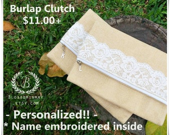 Personalize lace burlap clutch, brown clutch, burlap makeup bag, burlap clutch , rustic wedding shower favor, bridal shower gift, clutch