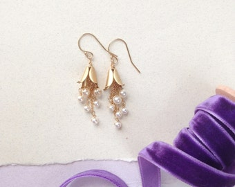 Pearl Drop 'Fable' Earrings - Hand Wired Swarovski Crystal Pearls and Brass Bell Flowers