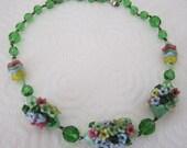 1930s satin glass flower necklace. glass flower necklace. flower jewelry; vintage jewelry
