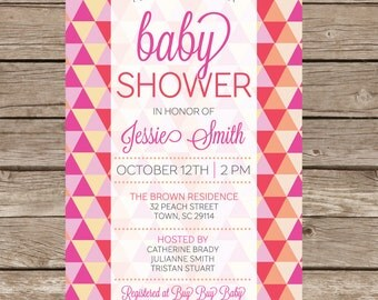 Baby Girl Shower Invitation Party Expecting Triangle Babies Digital File Print Printable