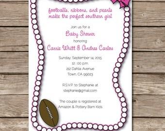 Footballs & Pearls Baby Shower Southern Invitation Custom Print Or Digital File Pink Ribbon Bows
