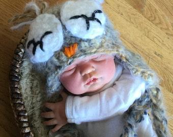 Crochet sleepy Owl Hat, photography prop,  crochet hat ,  0 to 3 months