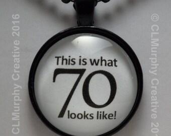 70th Birthday, Turning 70, Happy 70th, Pendant, Necklace, Jewelry C L Murphy Creative