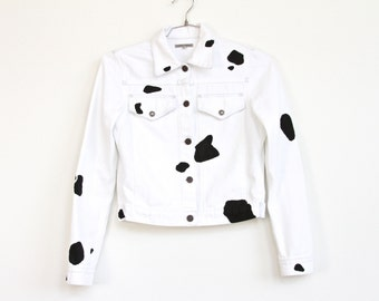 white Denim dalmatian Jacket, hand painted