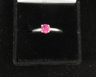 RUBY BIRTH STONE ring size 7 w/ 5mm faceted ruby argentium silver 1.7 grams