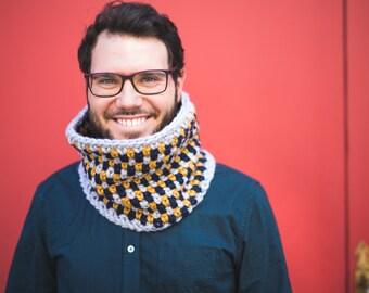 Crochet cowl for men, tricolor cozy oversized cowl - Pick your own colors