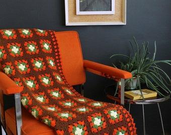 Vintage Crochet Granny Square Afghan Orange Brown Green and Cream Throw Blanket