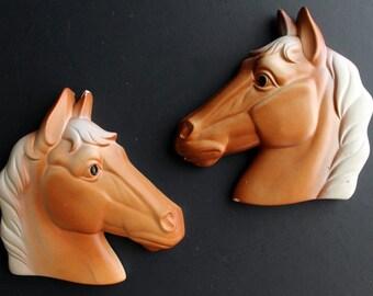 Vintage Plaster Horse Head Plaster Wall Plaque by Miller Studios Western Chalkware
