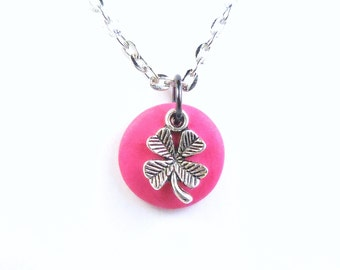 Four Leaf Clover Good Luck Charm Necklace, Pink Lucky Clover Jewelry, Off to College Polymer Clay Jewelry