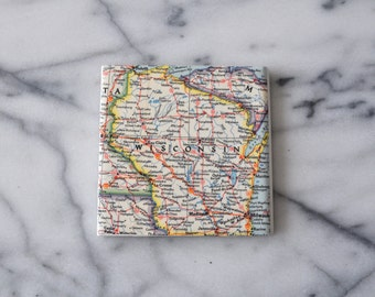 Wisconsin - Vintage Map Coaster