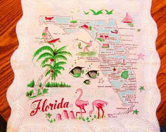 Vintage Florida State Hankie with Pink Flamingo Vintage Hanky, Vintage Handkerchief