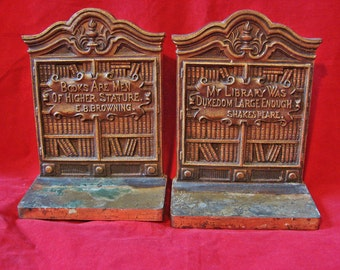 Early Bradley and Hubbard Bookends circa 1900 the LIBRARY Quotations from Shakespeare and Browning