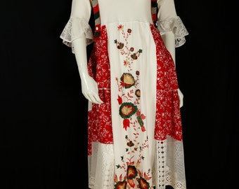 Boho embroidered dress Upcycled loose fit midi dresses Summer red rayon tiered dress Lace shabby layered clothing Bohemian long country chic