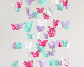 Butterfly Nursery Mobile - Hot Pink, Lavender, White & Aqua Butterfly Mobile, Photography Prop,  Baby Shower Gift