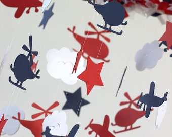 Airplane Nursery Mobile in Navy Blue, Red & White- Planes, Helicopters and Clouds
