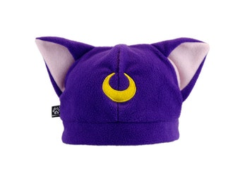 Pawstar Lunar kitty Hat You Pick Color Purple Black White Gray Embroidered sailor moon luna star cat fleece hat 1235