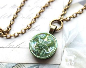 Czech Jadeite Glass Necklace Demi Pendant Necklace Jadeite Green, Colorful Glass Jewelry, Czech Art Glass Button Jewelry veryDonna