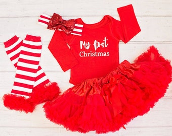 Baby Christmas Outfit...Long Sleeve Top..Red Christmas Top Skirt..Leg Warmers..Baby Headband/First Christmas Outfit...Santa Pictures.