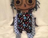 Dark Fairy Rag Doll, Stuffed Toy, Stuffed Rag Doll, Day of the Dead Doll