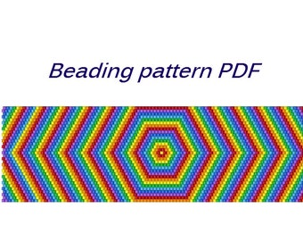 Beaded bracelet Rainbow. Beading Tutorial. Beading pattern PDF. Instant download.