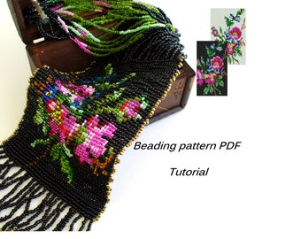 Beaded necklace Vintage. Square Stitch. Beading Tutorial. Beading pattern PDF. Instant download.