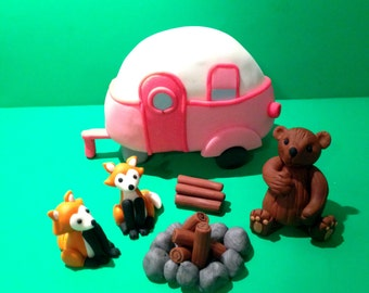 Pink Retro Camp Trailer with Forest Animals