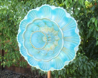 Gorgeous Glass Plate Flower - Hand Painted in Blue Pearl & Gold - Outdoor Garden Decorations, Glass Flower Garden Art, Vintage garden decor