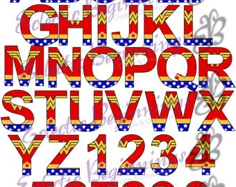 Alphabet and Numbers PNG Digital File, Diy Print Clip Art-Superhero Wonder Woman Character Letters Alphabet A-Z Printables Invitations Scr